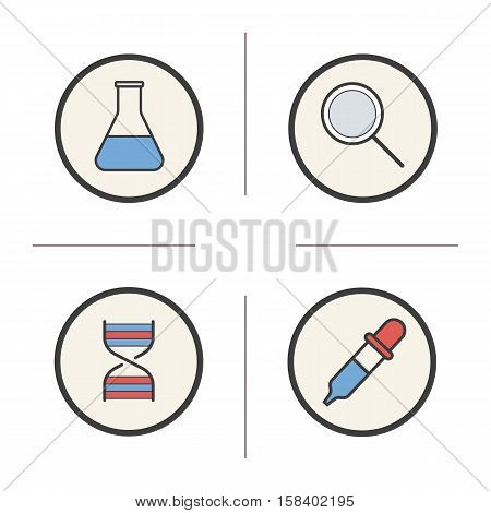 Chemical lab tools color icons set. Beaker with liquid, magnifying glass, DNA strand, pipette. Laboratory equipment. Isolated vector illustrations
