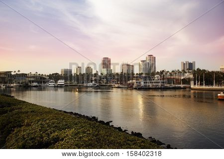Long Beach CA. USA. Parkers' Lighthouse at Shoreline Village. Cityscape and marina view from the Los Angeles harbor
