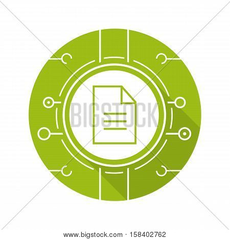 Web document flat design long shadow icon. Digital file. Vector green silhouette symbol