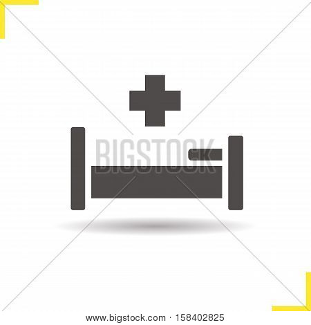 Hospital bed icon. Drop shadow hospitalization silhouette symbol. Negative space. Vector isolated illustration