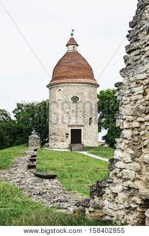 Romanesque rotunda in Skalica Slovak republic. Architectural theme. Travel destination. Cultural heritage. Vertical composition.