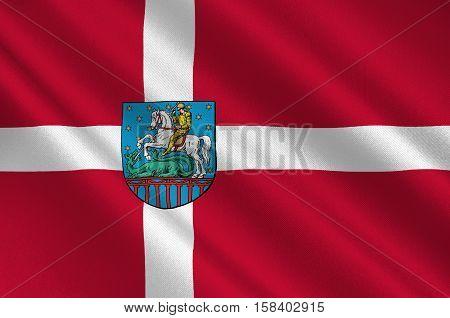 Flag of Holstebro in Central Jutland Region in Denmark. 3d illustration