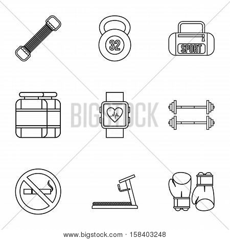 Workout icons set. Outline illustration of 9 workout vector icons for web