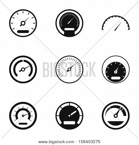 Speedometer icons set. Simple illustration of 9 speedometer vector icons for web
