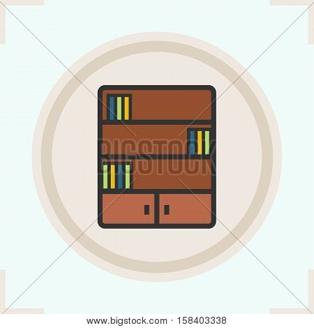 Bookcase color icon. Bookshelf. Library symbol. Isolated vector illustration