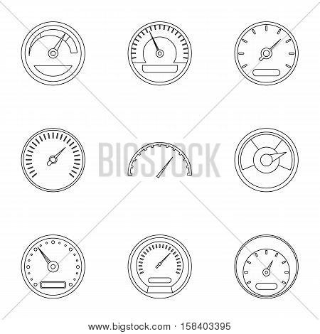 Speedometer icons set. Outline illustration of 9 speedometer vector icons for web