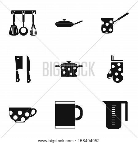 Kitchenware icons set. Simple illustration of 9 kitchenware vector icons for web