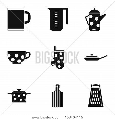 Dining items icons set. Simple illustration of 9 dining items vector icons for web