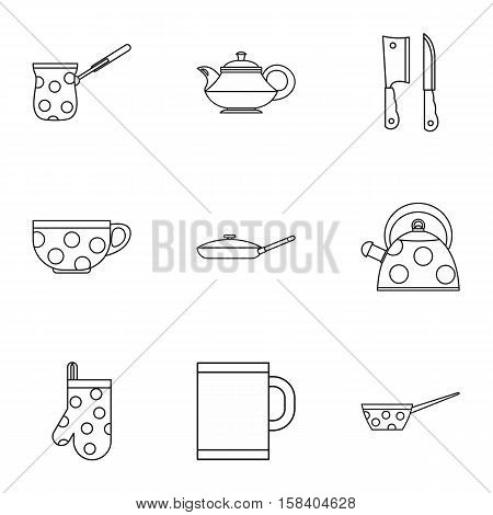 Tableware icons set. Outline illustration of 9 tableware vector icons for web