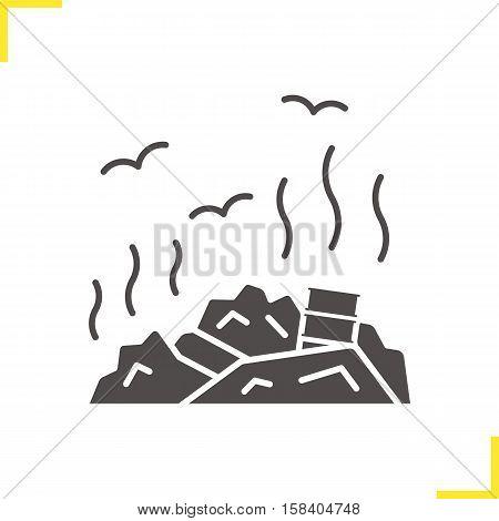 Rubbish dump icon. Drop shadow trash silhouette symbol. Environment pollution. Debris. Garbage. Negative space. Vector isolated illustration