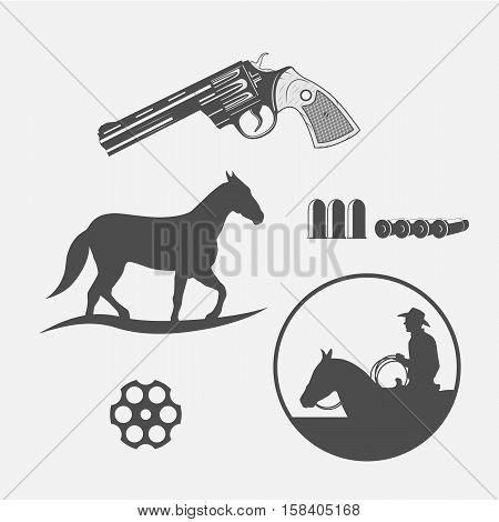 wild west icons set -cowboy head horse gun