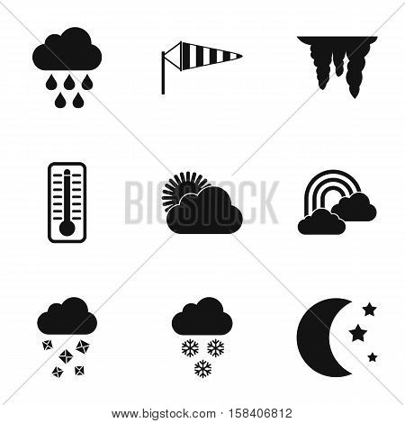 Weather forecast icons set. Simple illustration of 9 weather forecast vector icons for web