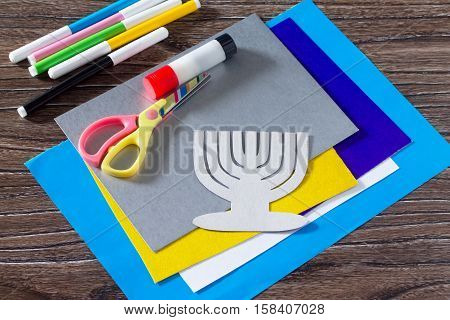 The Child Carves The Details Greeting Cards Image Of The Jewish Holiday Of Hanukkah. Glue, Scissors,