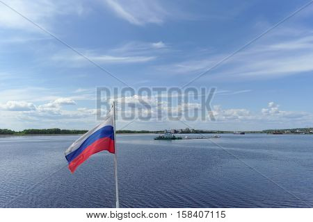 Gorodets, Russia. - June 2.2016. View of the upper Gorodetsky gateways to the Volga River
