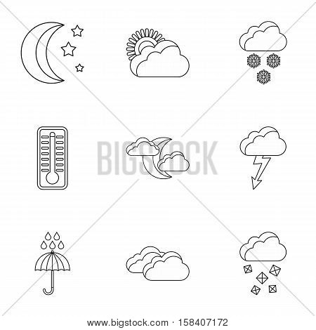 Weather forecast icons set. Outline illustration of 9 weather forecast vector icons for web