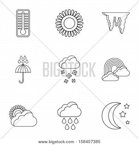 Weather outside icons set. Outline illustration of 9 weather outside vector icons for web