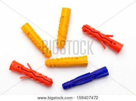 plastic dowels isolated on a white background.