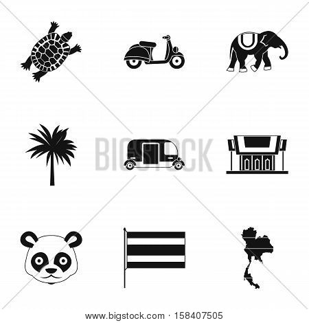 Holiday in Thailand icons set. Simple illustration of 9 holiday in Thailand vector icons for web