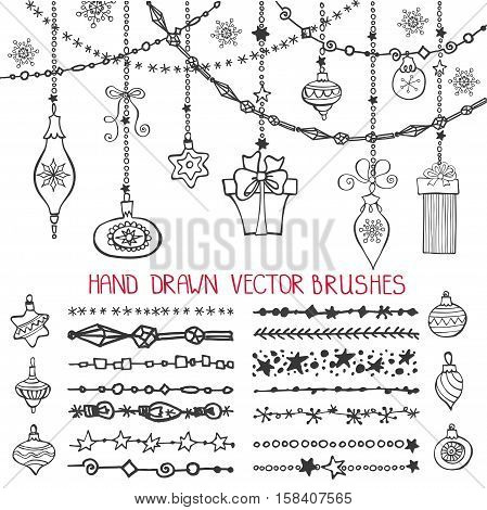 Christmas Hand drawn line brushes, borders with ornate balls.New year doodle pattern textures.Decoration vector set.Winter symbols garlands.Used Black  brushes included.Design template, card