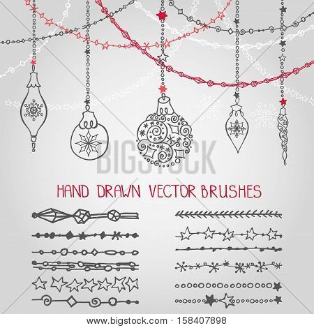 Christmas Hand drawn garland brushes with ornate balls.New year doodle pattern textures.Decoration vector set.Winter symbols in line border.Used Black  brushes included.Design template, card