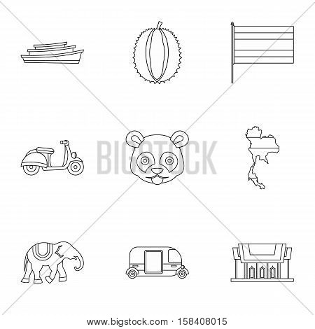 Thailand icons set. Outline illustration of 9 Thailand vector icons for web