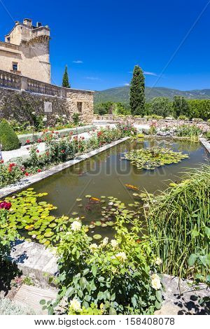 garden of palace in Lourmarin, Provence, France