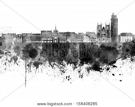 Nantes Skyline In Black Watercolor On White Background