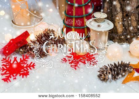 Christmas background with Christmas decoration with snow stars gifts sparking and text Merry Christmas and Happy New Year. Winter holiday and Xmas theme