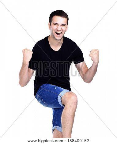 very happy energetic man