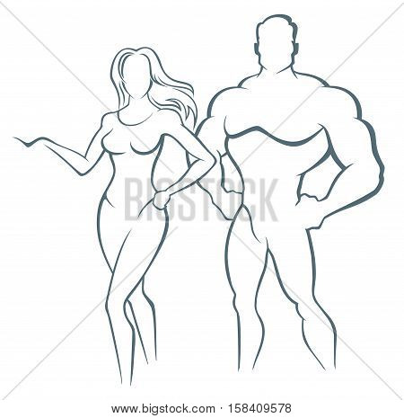 Vector illustration of muscleman and fitness woman