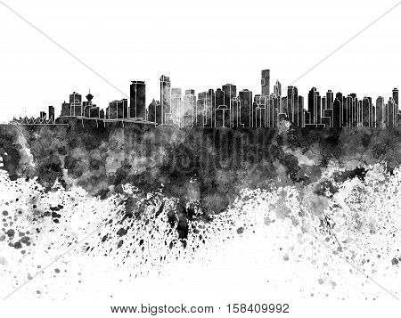 Vancouver Skyline In Black Watercolor On White Background