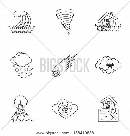 Natural emergency icons set. Outline illustration of 9 natural emergency vector icons for web