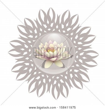 Logo lotus in a bubble. Lily flower in a drop of water on a background pattern mandala. Line length of Buddhism yoga and spa salon. Vector illustration