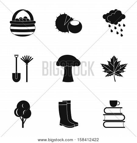 Falling leaves season icons set. Simple illustration of 9 falling leaves season vector icons for web