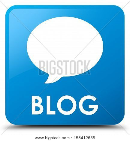 Blog (conversation icon) cyan blue square button