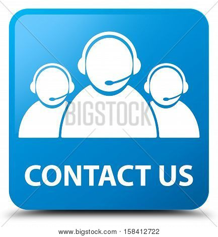 Contact us (customer care team icon) cyan blue square button