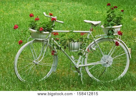 White Retro Bicycle with Flowers on the Grass