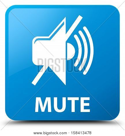 Mute (mute icon) cyan blue square button