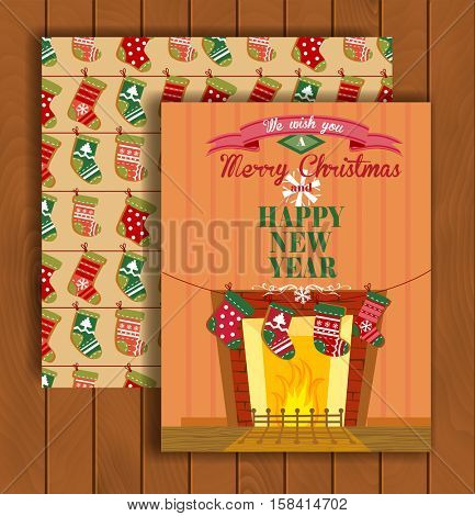 Cute Christmas greeting card with an envelope - the socks hanging on a rope near fireplace.