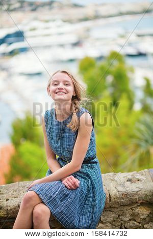Happy Young Girl At Le Suquet In Cannes