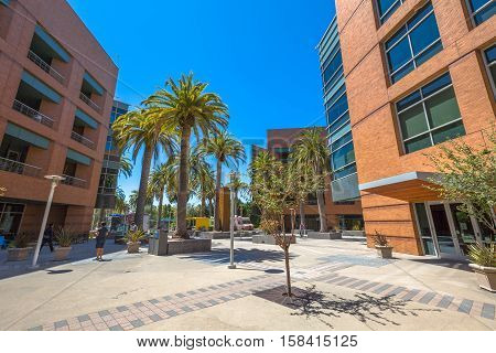 Mountain View, CAalifornia, United States - August 15, 2016: Google Building 1950 near the main Googleplex, with palms and courtyard. Google is a multinational corporation.