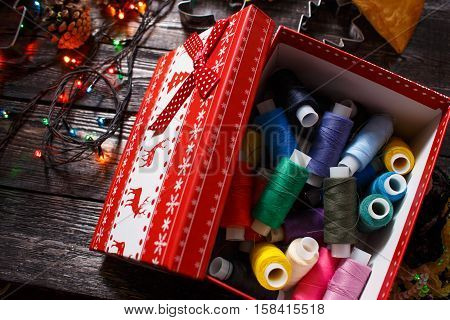 colored thread in the new year or Christmas box!