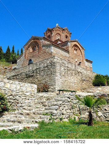 The old stone church against vivid blue sky, Saint John at Kaneo's church of Ohrid in Republic of Macedonia