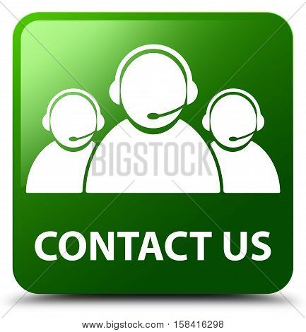 Contact Us (customer Care Team Icon) Green Square Button