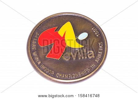 Sevilla 1991 Athletics World Indoor Championships Participation Medal, Obverse. Kouvola, Finland 06.