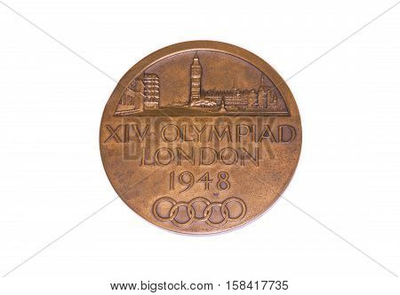 London 1948 Olympic Games Participation Medal, Obverse. Kouvola, Finland 06.09.2016.