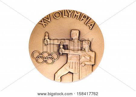 Helsinki 1952 Olympic Games Participation Medal, Reverse. Kouvola, Finland 06.09.2016.