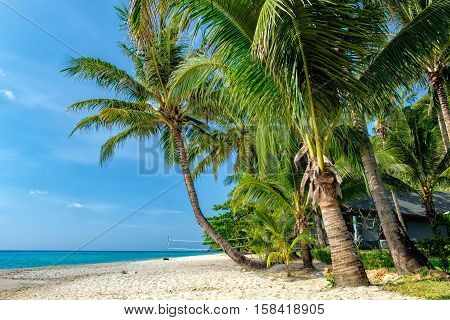 Beach volleyball court and coconut palm trees on White Sand Beach, Koh Chang, Thailand. Nature vacation background. Beautiful tropical ocean or sea on sunny day.