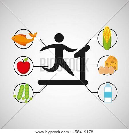 sport man walking machine nutrition health vector illustration eps 10