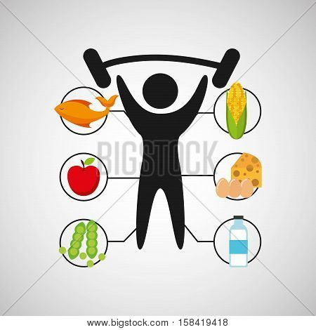 sport man barbell lift nutrition health vector illustration eps 10